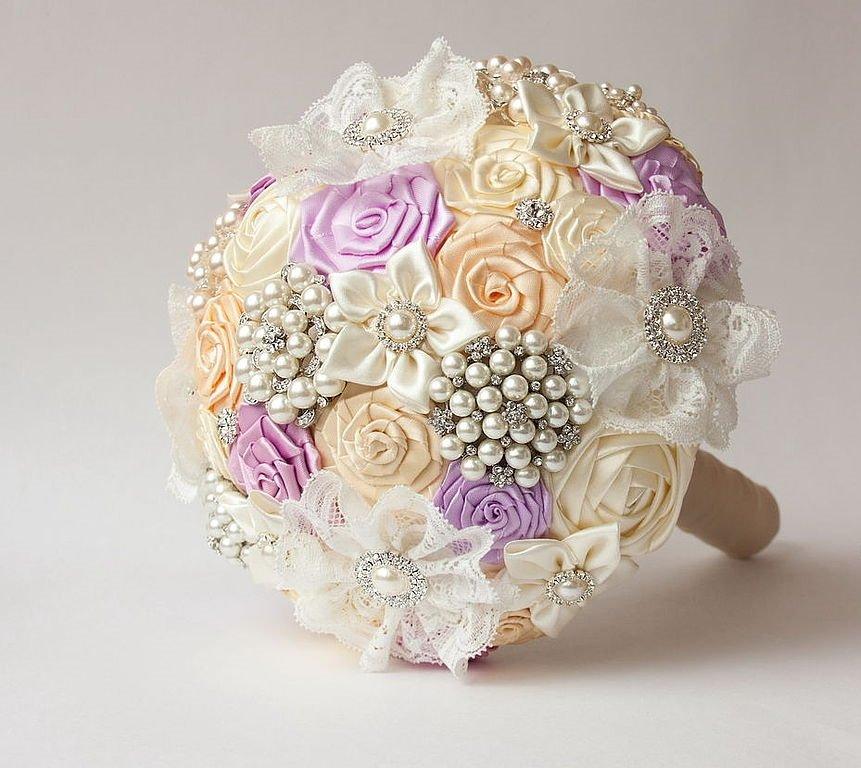 Свадебный букет из цветов и брошей своими руками