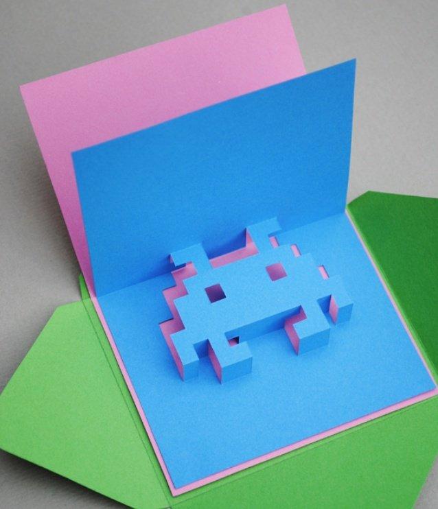 Объемная открытка подарок, формы открыток пошагово