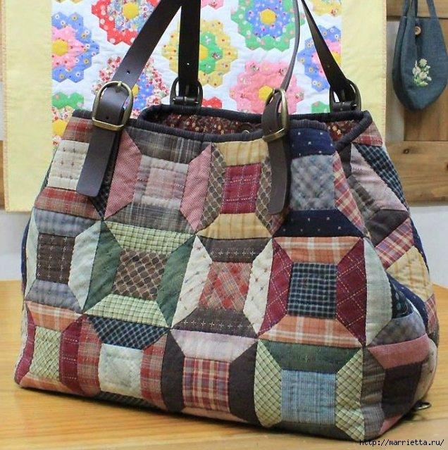 Многоцветная сумка из лоскутов.
