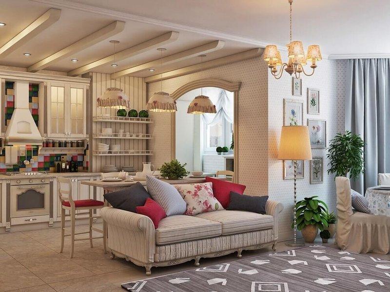 Дизайн интерьера в стиле прованс: отделка и материалы, мебель и текстиль, освещение и декор. Подробное описание + 39 фото примеров оформления...