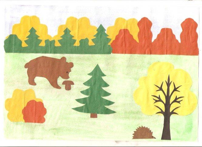 картинка для аппликации лес встречаются двухцветные