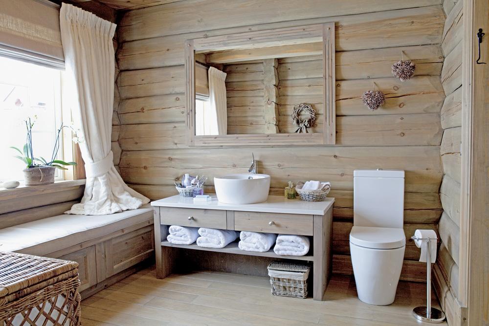 деревянном доме фото ванной в