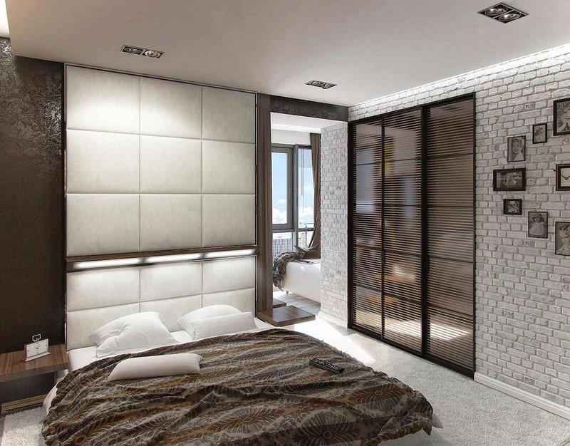 Спальня с мягкой настенной плиткой в стиле лофт