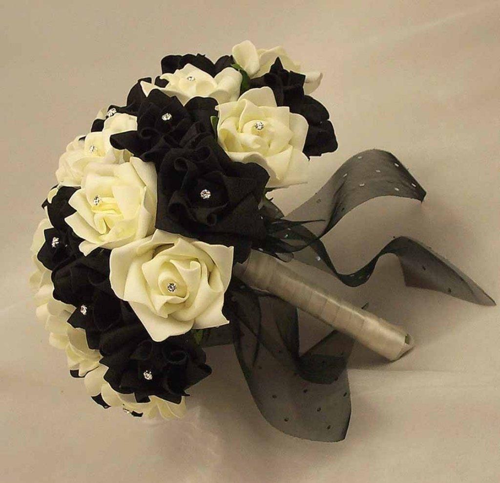 Тюльпанов, свадебные букеты белый с черным