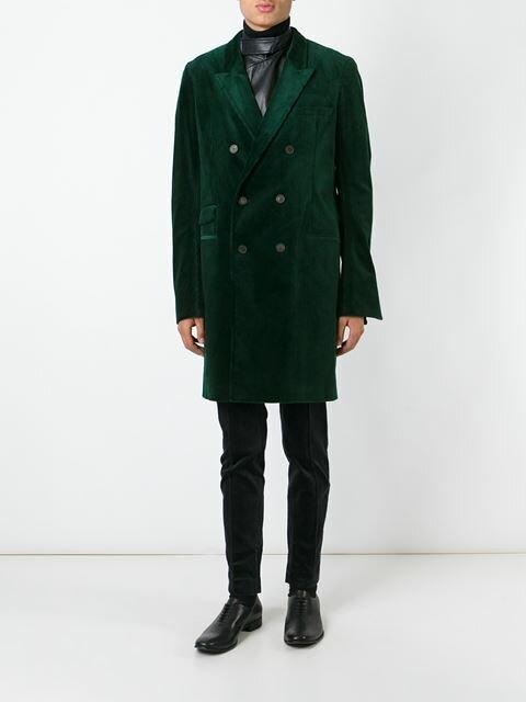 Купить Haider Ackermann вельветовое двубортное пальто.