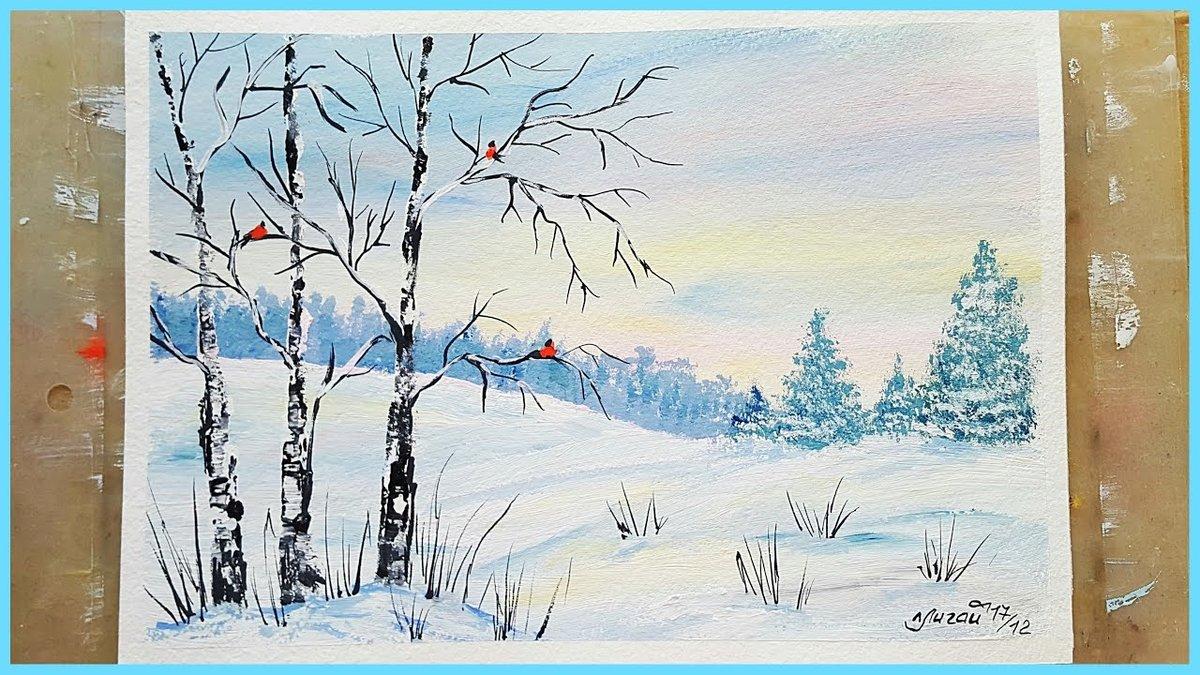 зимний пейзаж рисунки для начинающих японии