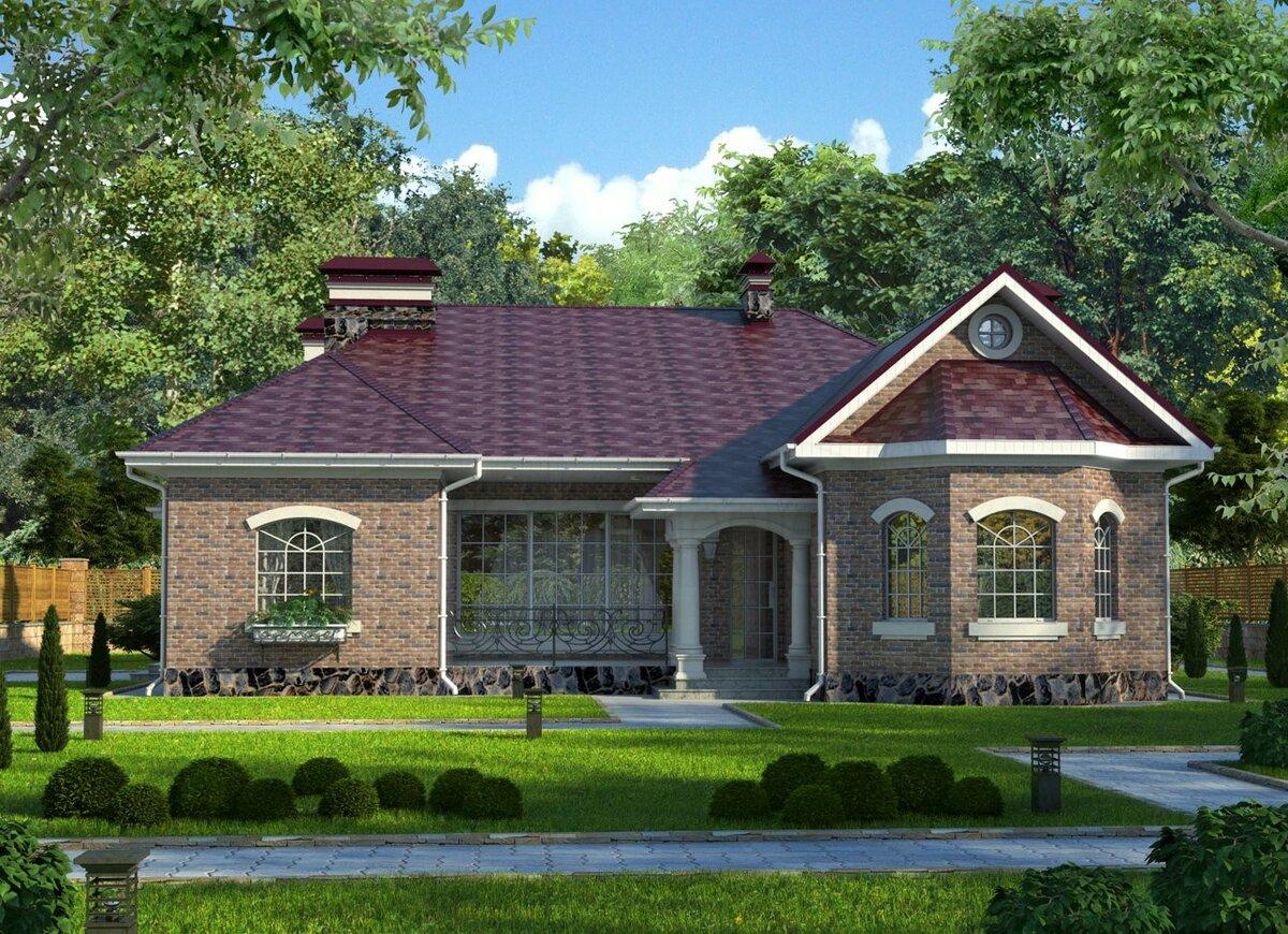 красивые одноэтажные дома проекты фото из кирпича хочу одну
