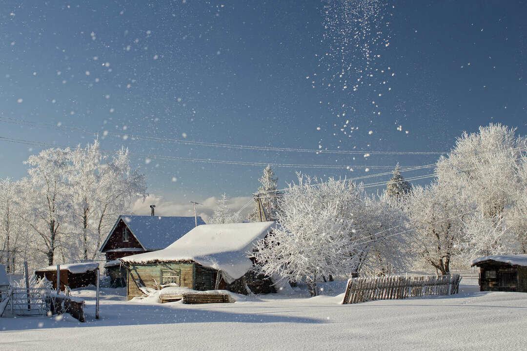 Рисунки, зимняя деревня картинки