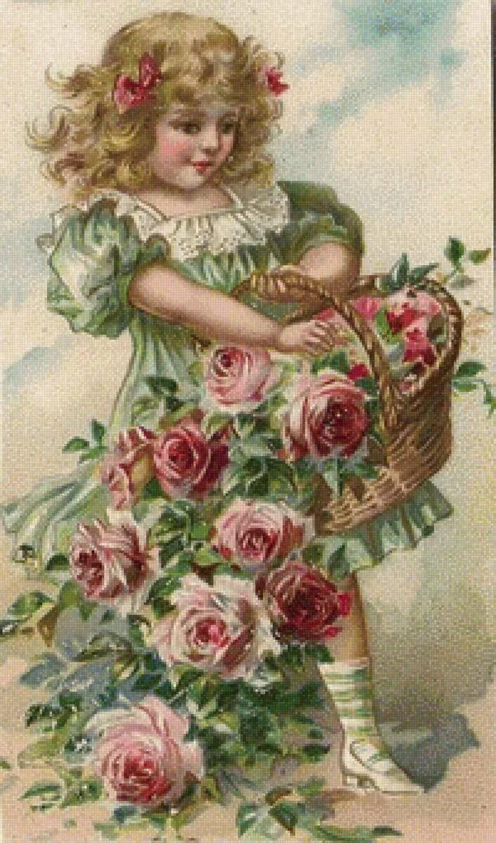 Девочка с цветами открытки с днем рождения, про