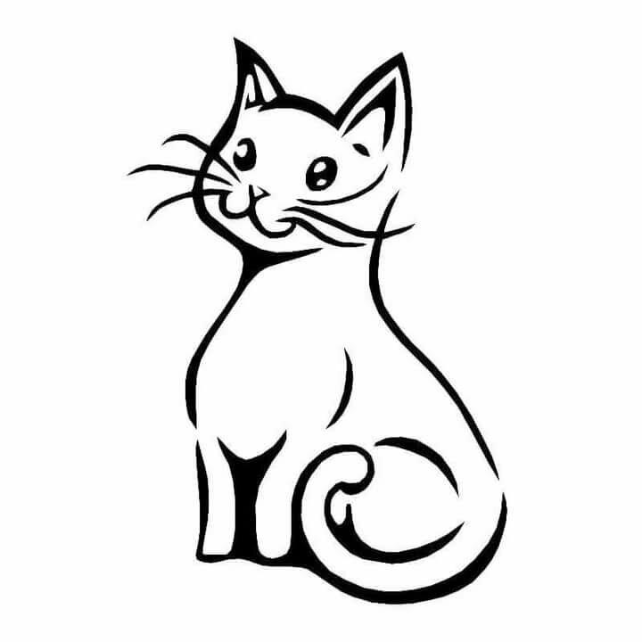 рисунки кошек черно белые отметить