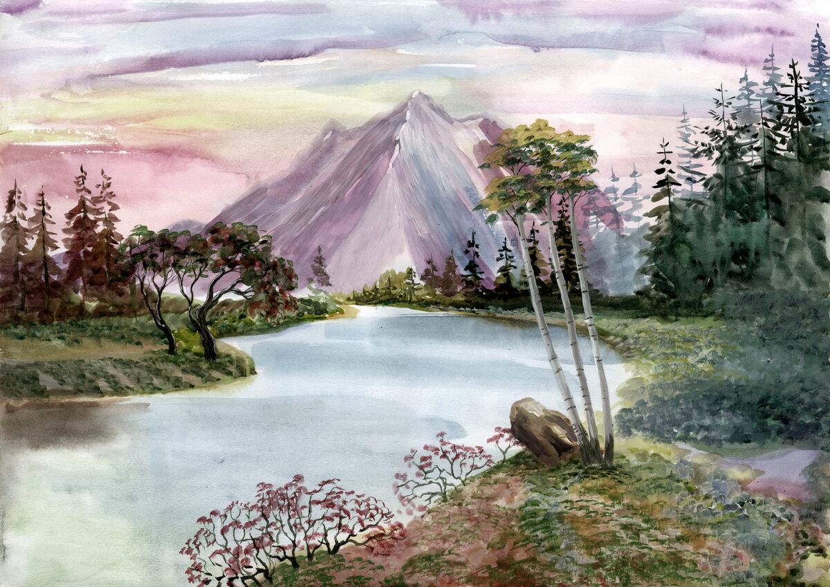 Открытка, картинка гуашью гора с рекой