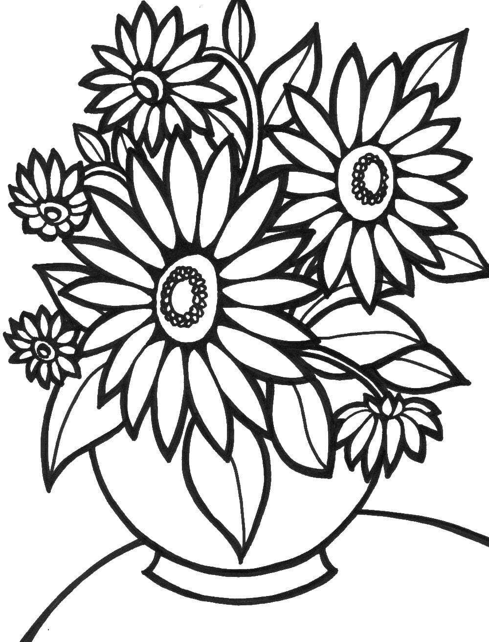 Картинки, цветы картинки черно-белые раскраски