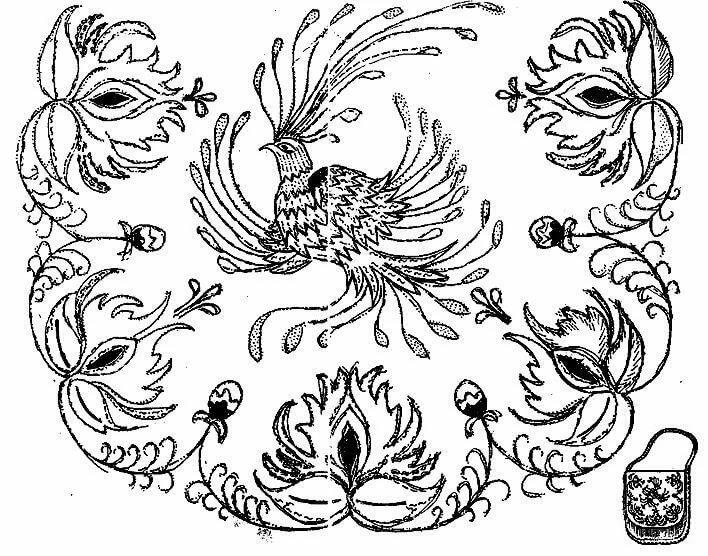 Русский орнамент картинки птицы черно-белые