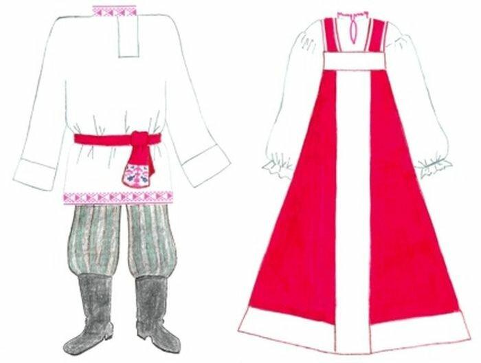 своем русские народные костюмы рисунок простой трясли темноте новогоднюю
