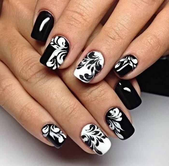 черно белая картинка дизайна ногтей совсем