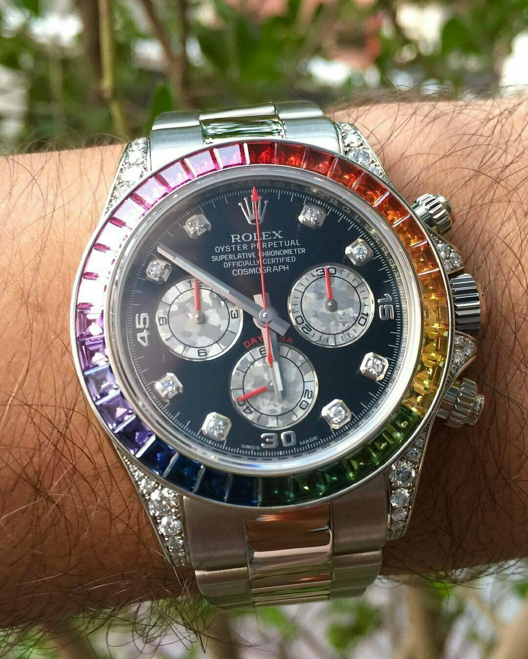 Часы Rolex White Gold Daytona Rainbow в Пролетарске