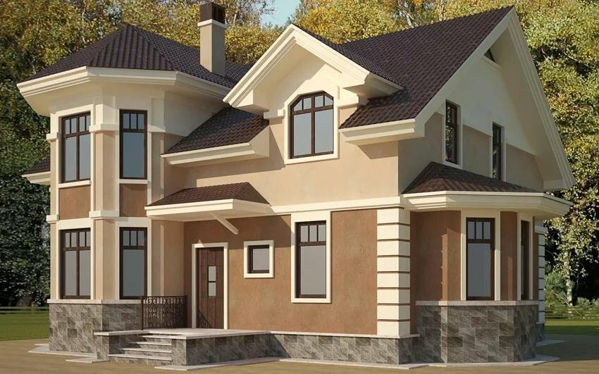 проекты домов коттеджей с фасадом эркер фото стоимость входила