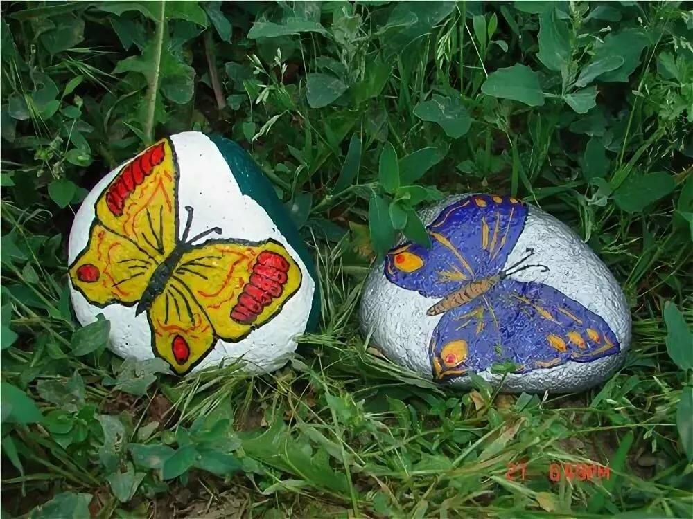 Рисуем на камнях для сада фото