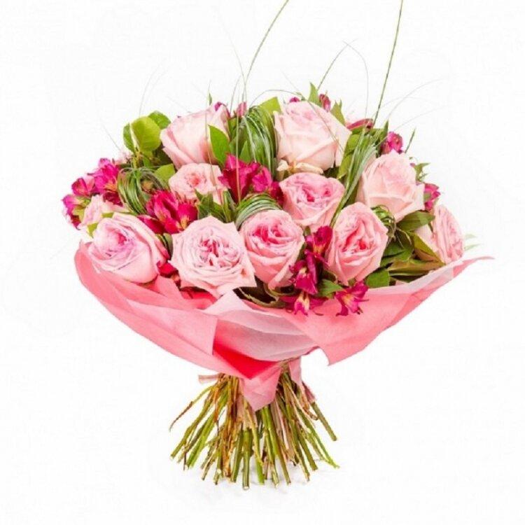 Букет из роз и альстромерий фото