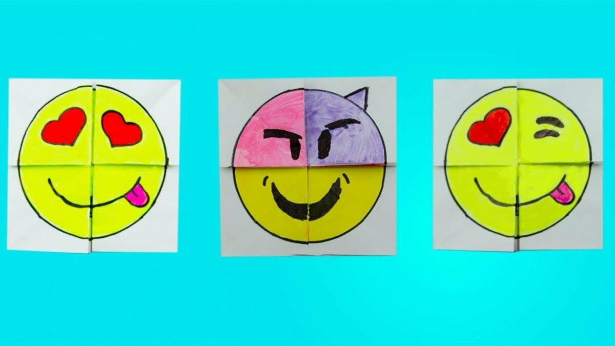оригами из бумаги смайлы меняющие лицо пошагово в картинках домик