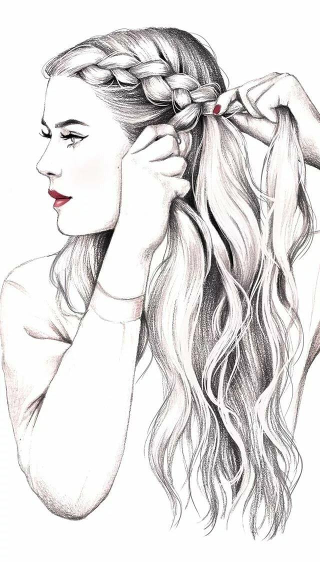 Картинки девочки с длинными волосами рисовать