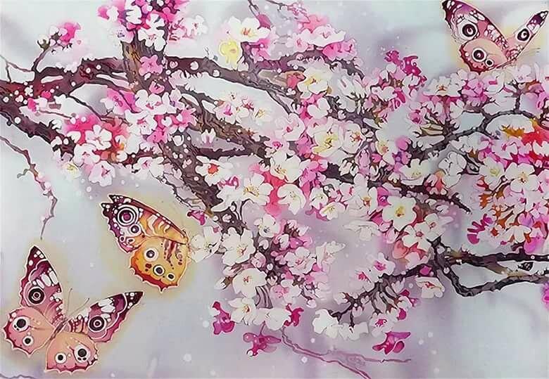Картинки цветущая сакура с бабочками