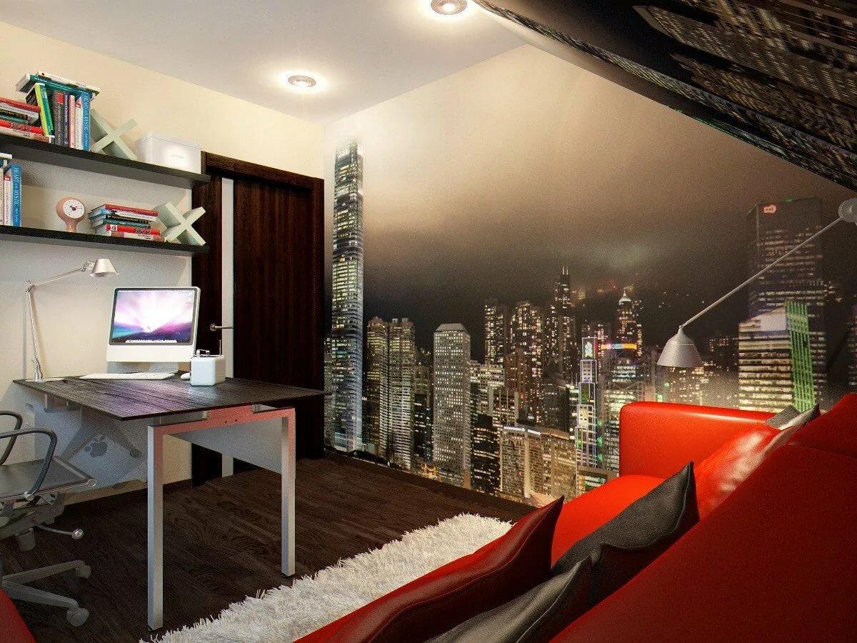 Дизайн молодежной комнаты с фотообоями