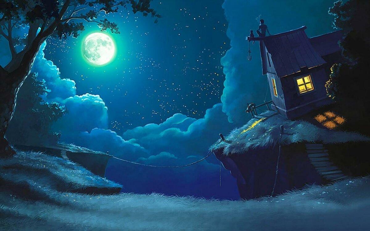 Картинки надписями, открытка с темной ночью
