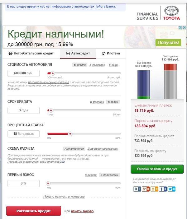 россельхозбанк официальный калькулятор кредита