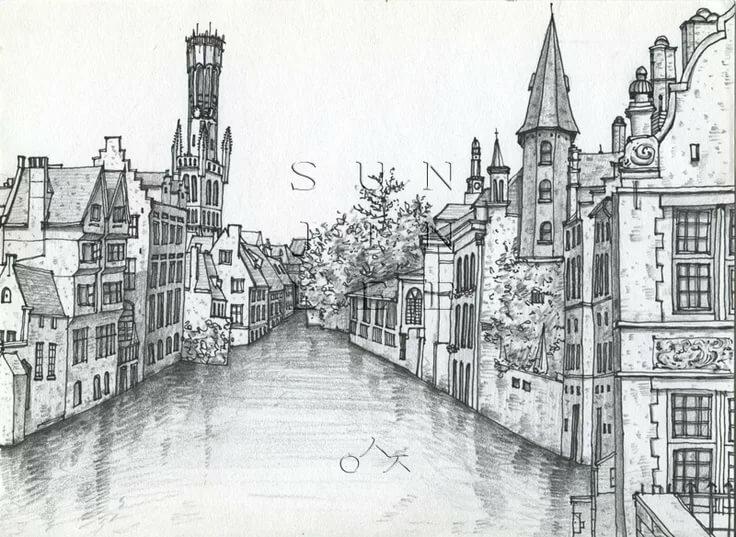Картинки карандашом старинные города