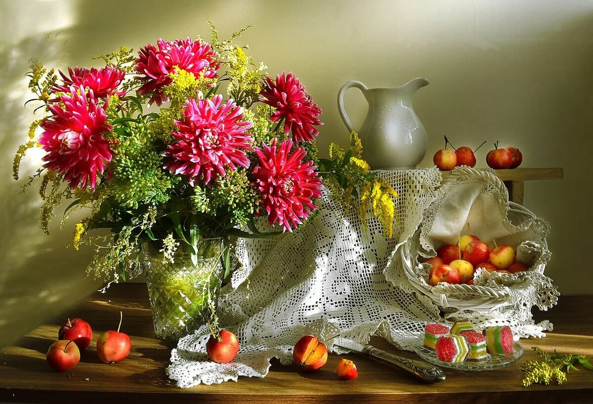 Красивые открытки с осенними цветами и пейзажами, ткани картинки для