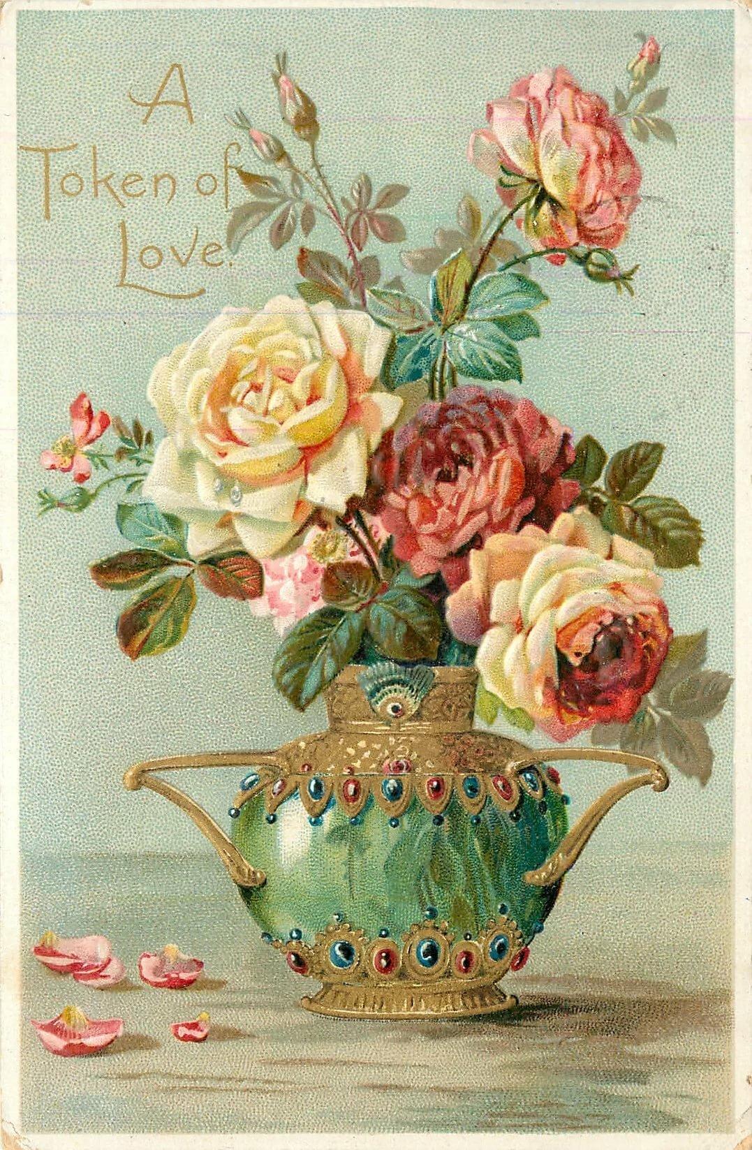 винтажные розы открытка