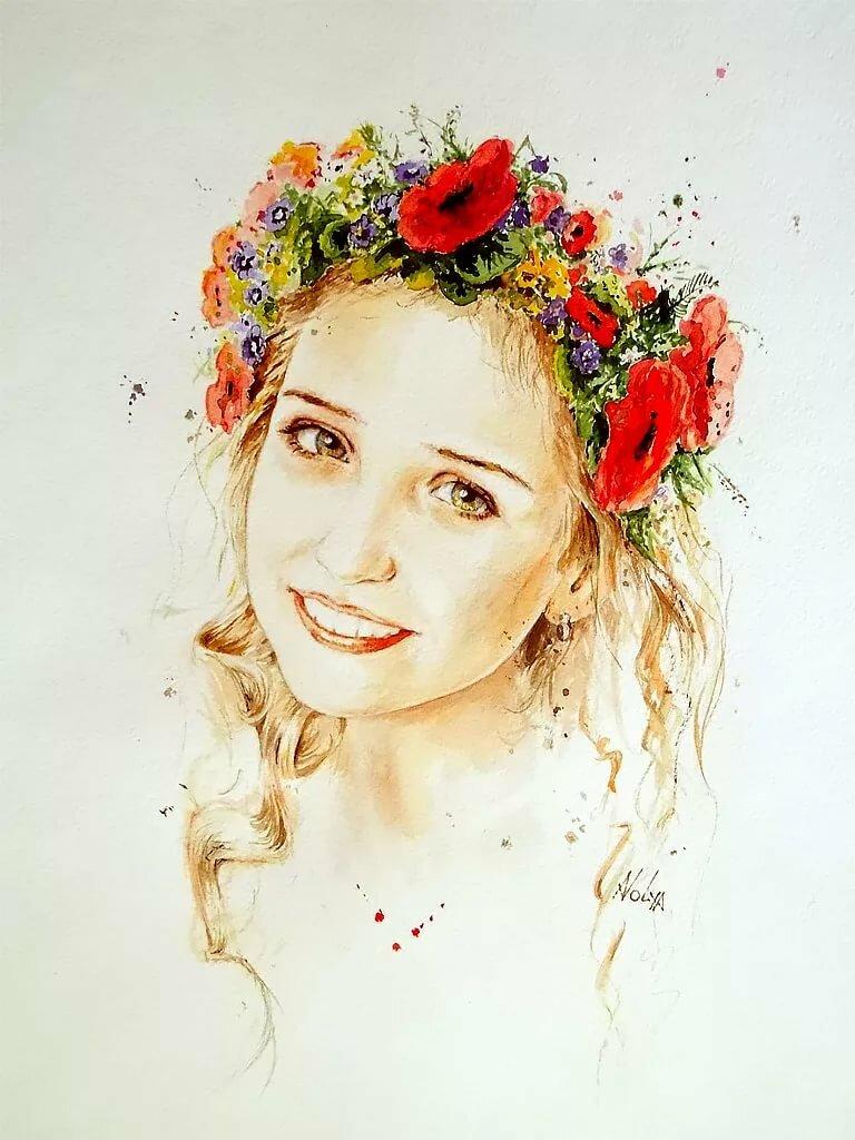 Девушка с венком на голове рисунок