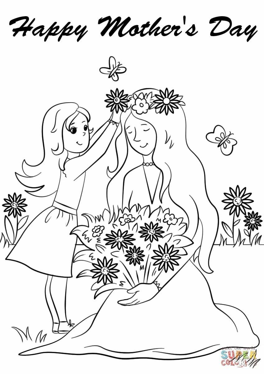 Раскраска открытка с днем матери