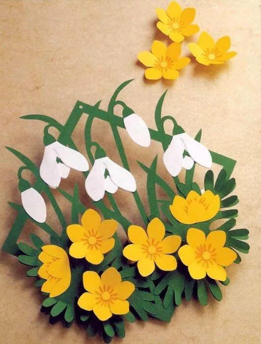 Добрым утром, объемная аппликация цветы открытки