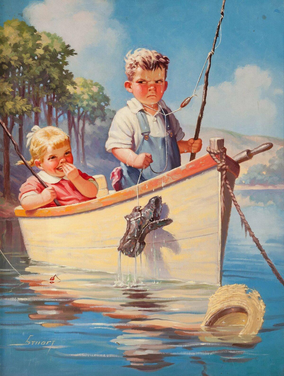Открытки старые рыбалка