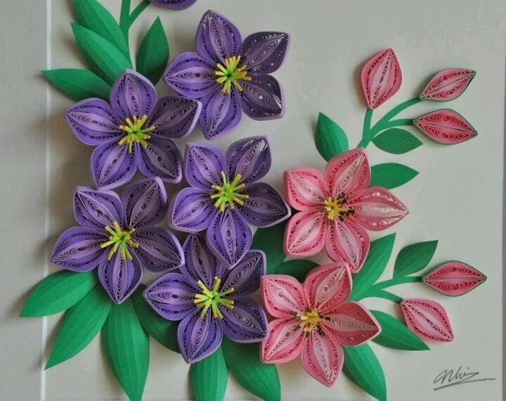 Днем, квиллинг лилии открытка