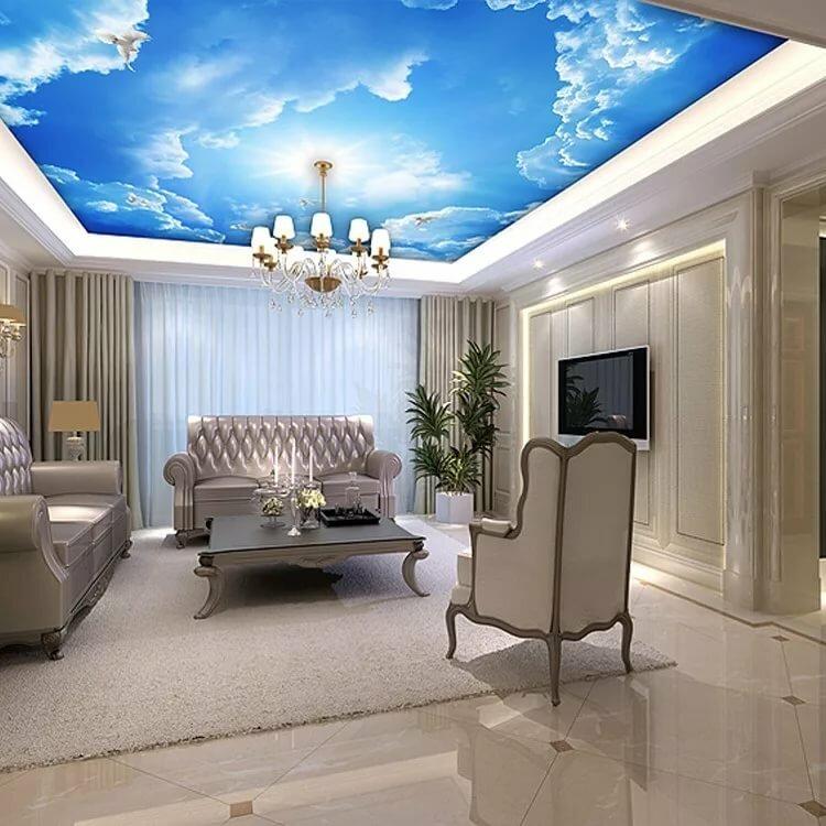 Натяжные потолки для зала с картинками