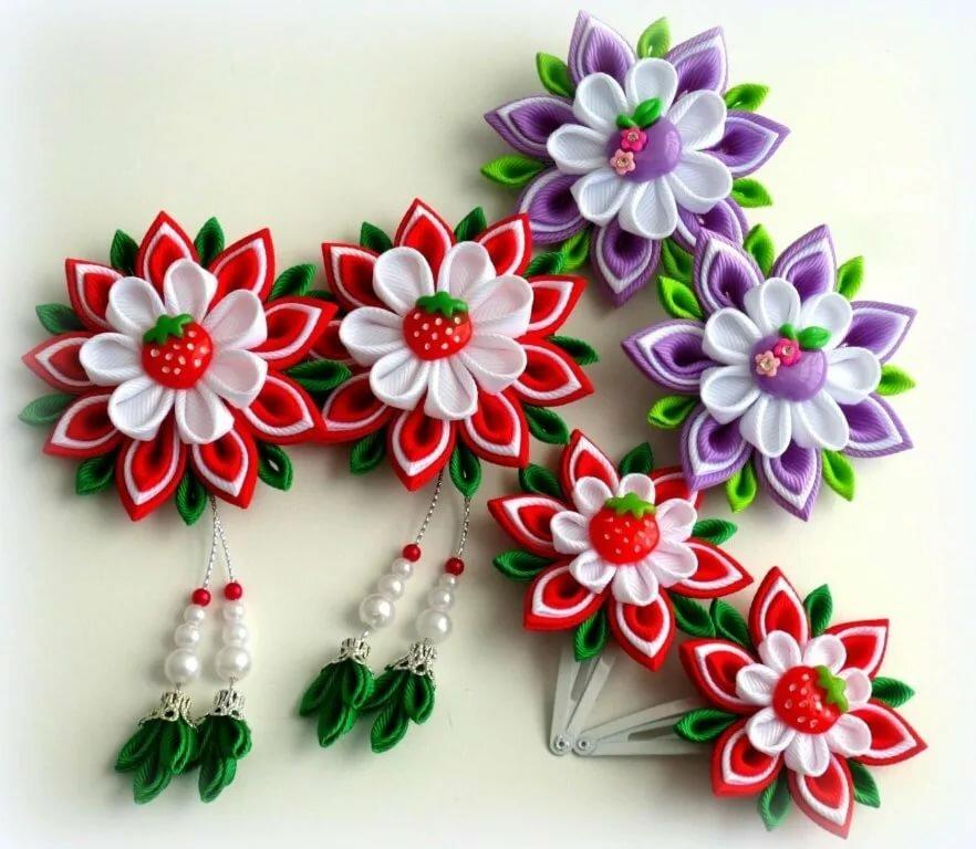 шина цветочки канзаши фото тщательно