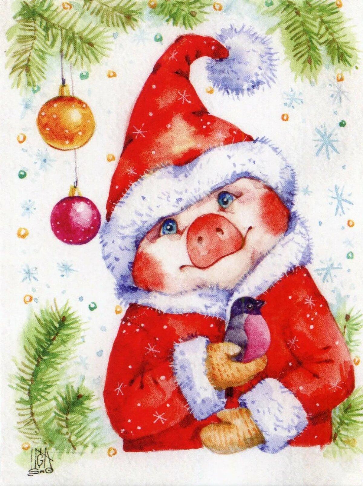 Открытка, новогодние открытки и с рождеством 2019 год свиньи