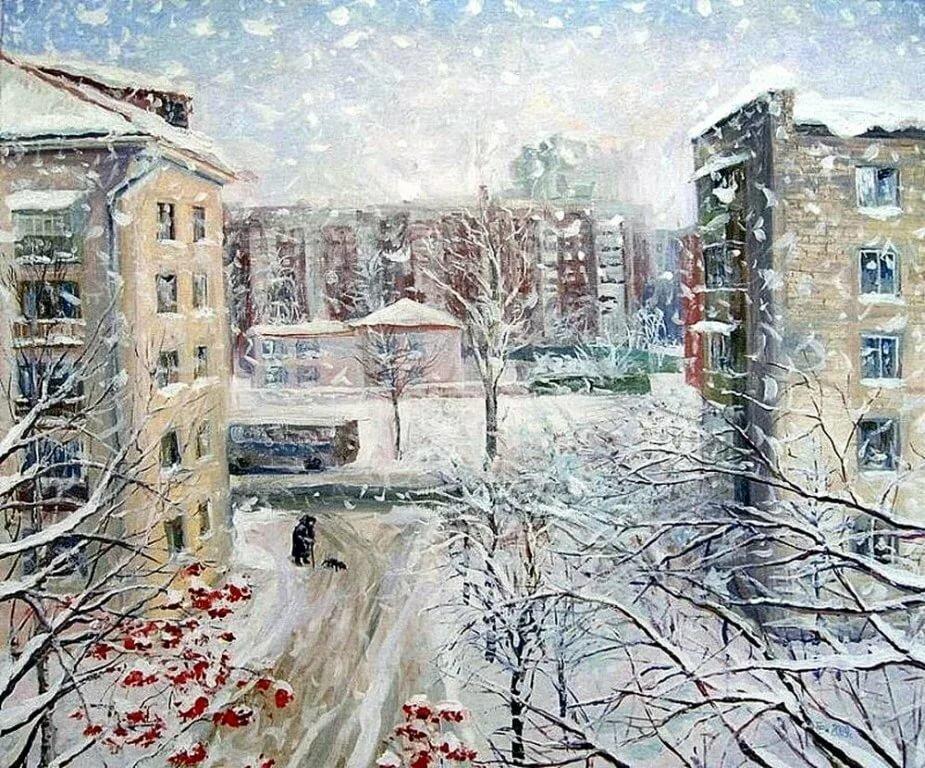 снег картина маслом за окном