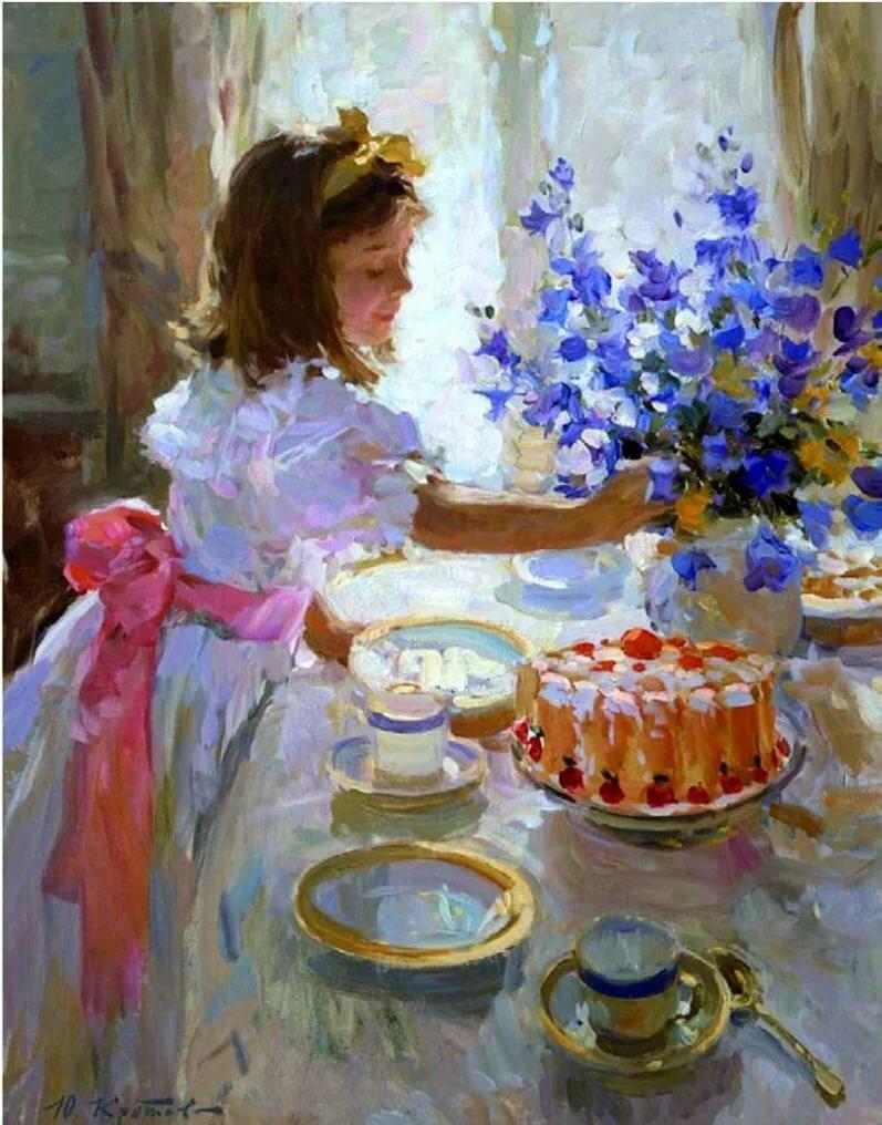 Открытка с днем рождения в стиле импрессионизма