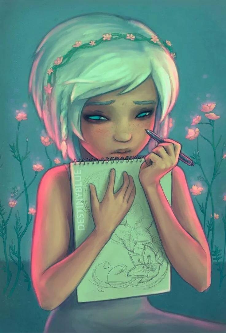 Картинка на аватарку нарисованная девочка