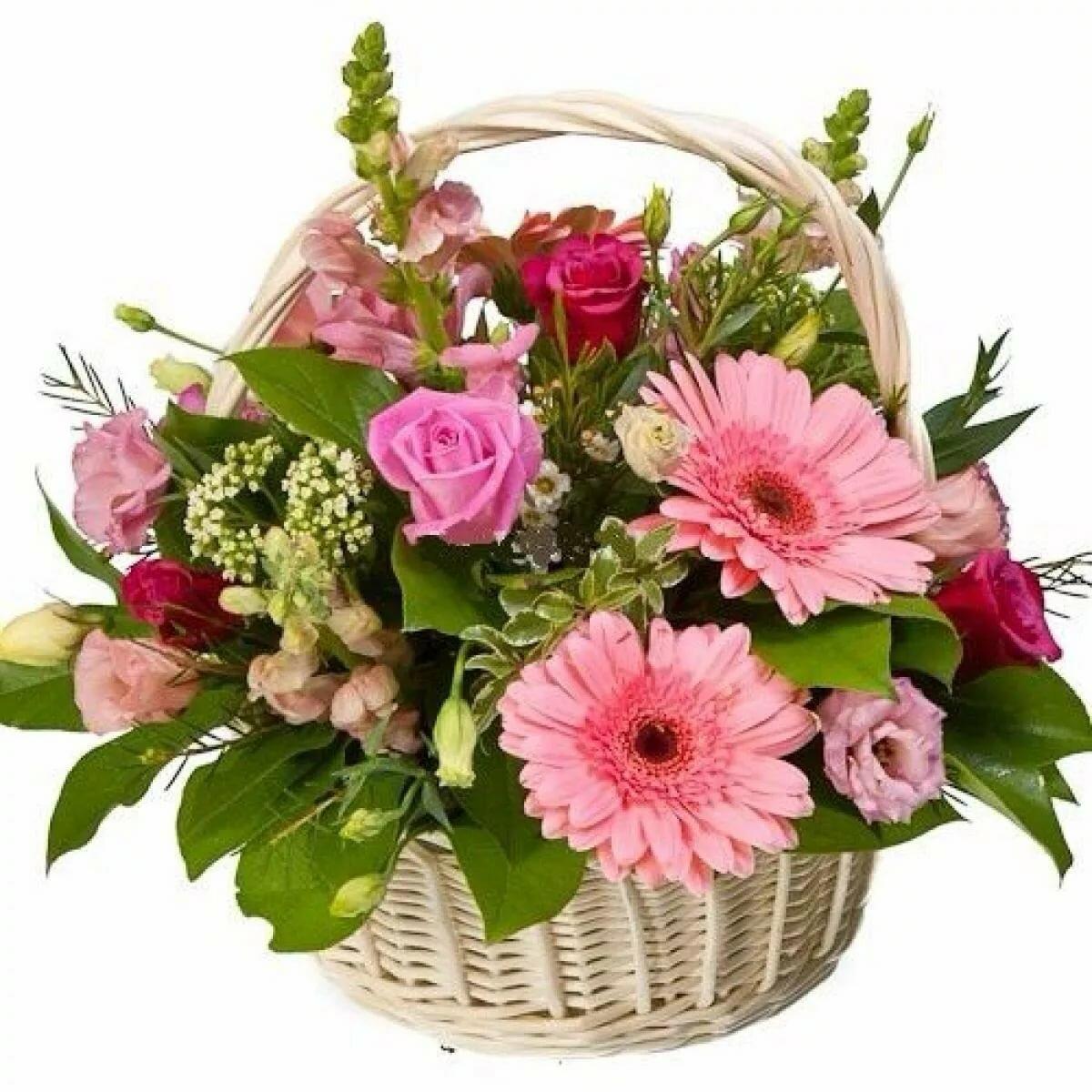 Открытка корзина с цветами на день рождения красивые, шары улетают небо