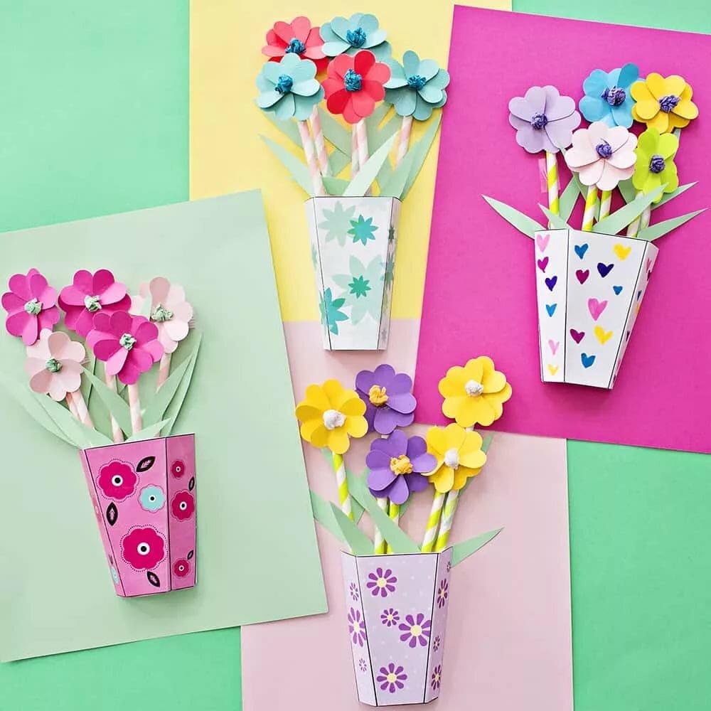 Поделки открытки цветы из бумаги своими руками
