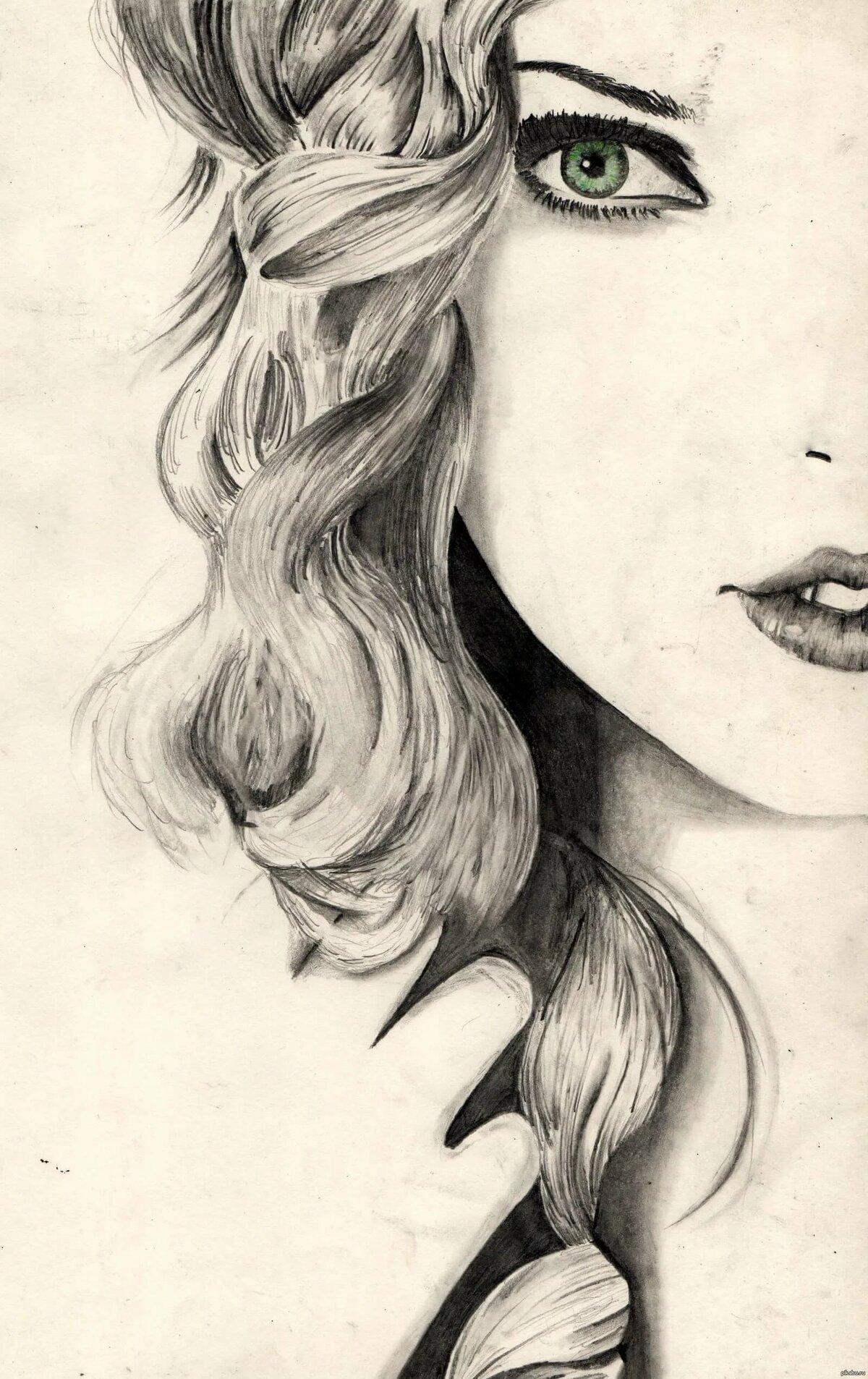 Красивая картинка девушка нарисованная карандашей