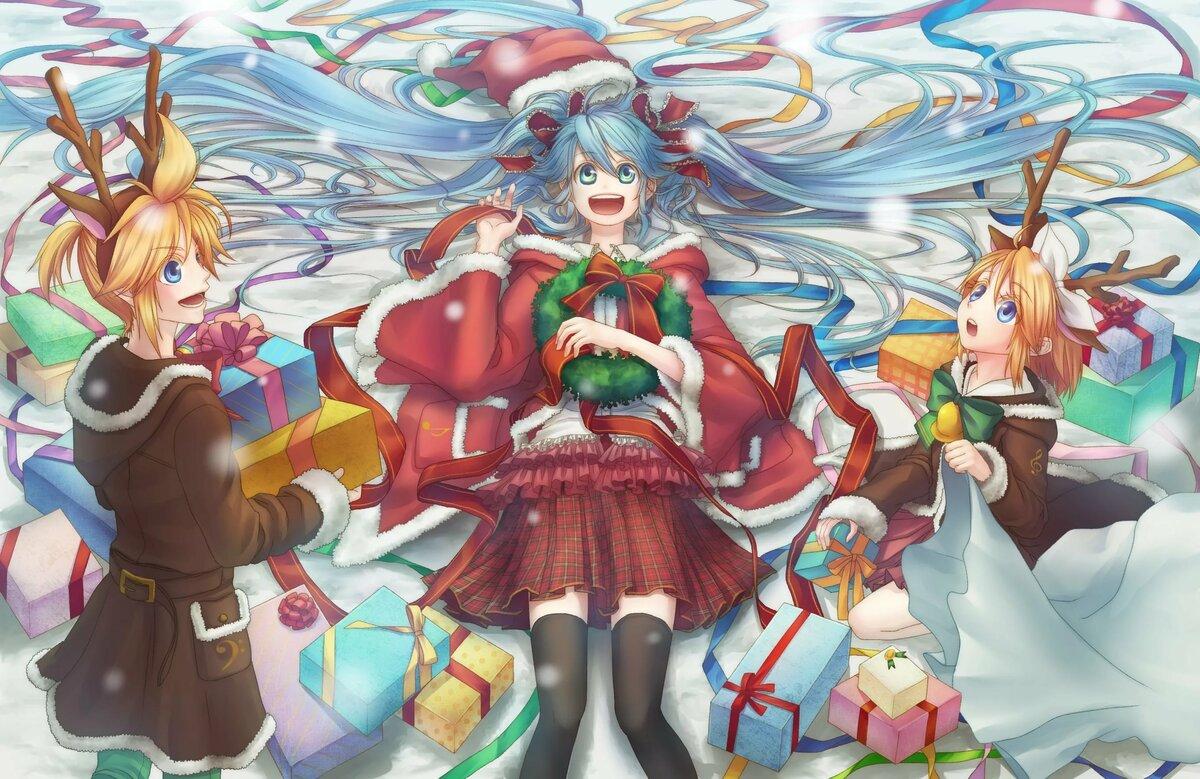 Новогодние аниме картинки вокалоиды