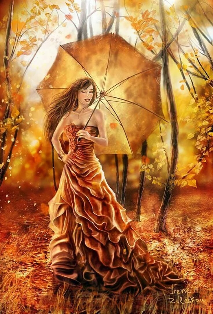Картинки фэнтези девушка осень