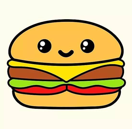 объёмный гамбургер картинки с глазами сложенном