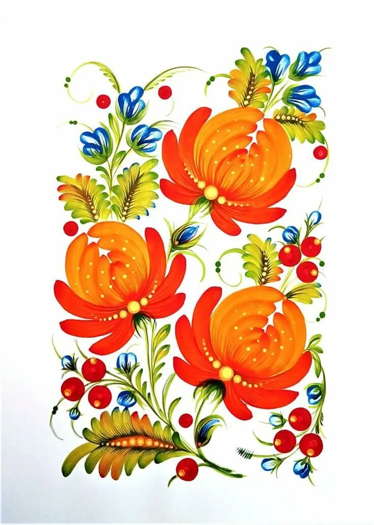 рисунки открытка петриковская роспись сделать заварное